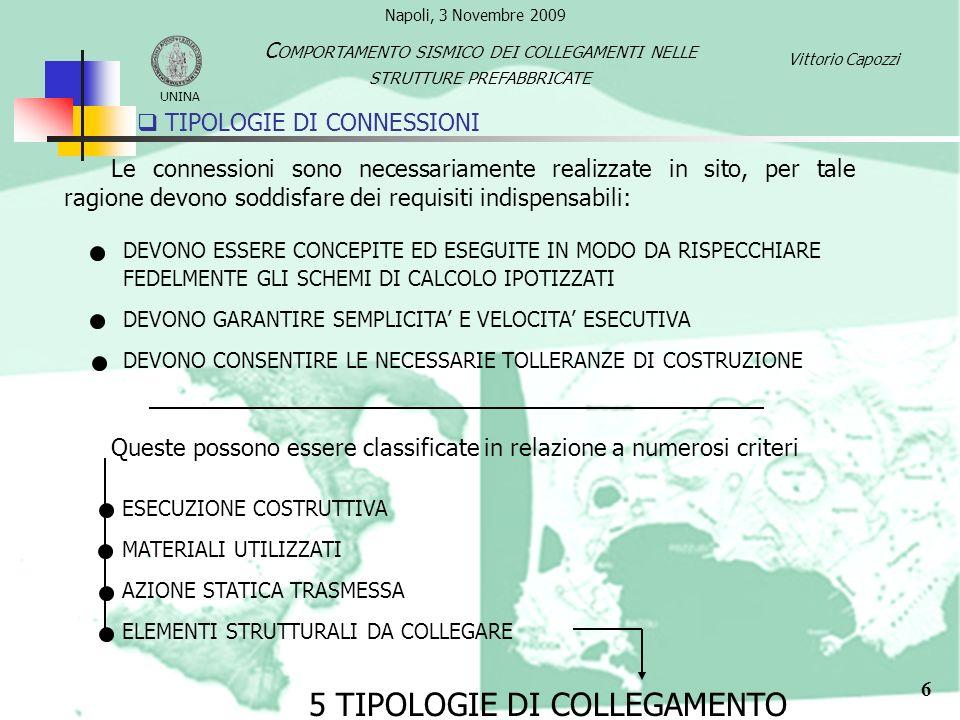 7 TIPOLOGIE DI CONNESSIONI Vittorio Capozzi UNINA C OMPORTAMENTO SISMICO DEI COLLEGAMENTI NELLE STRUTTURE PREFABBRICATE UNIONE FONDAZIONE - PILASTRO UNIONE PILASTRO - TRAVE UNIONE TRAVE – COPERTURA UNIONE TRA ELEMENTI DI COPERTURA UNIONE TRA PANNELLI E STRUTTURA UNIONI ARTICOLATE (W < 0.15) UNIONI SEMI-ARTICOLATA UNIONI RIGIDE (W > 0.9 – 0.95) GRADO DI VINCOLO: Napoli, 3 Novembre 2009