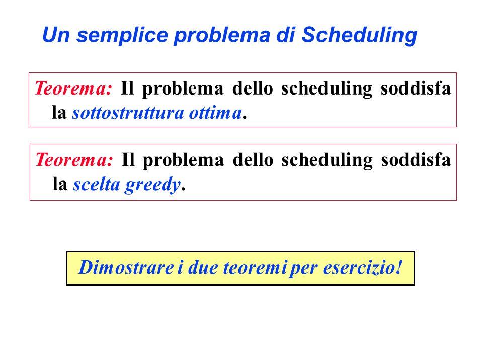 Un semplice problema di Scheduling Teorema: Il problema dello scheduling soddisfa la sottostruttura ottima. Teorema: Il problema dello scheduling sodd