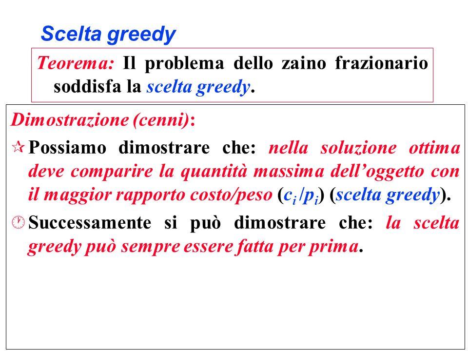 Scelta greedy Teorema: Il problema dello zaino frazionario soddisfa la scelta greedy. Dimostrazione (cenni): ¶ Possiamo dimostrare che: nella soluzion