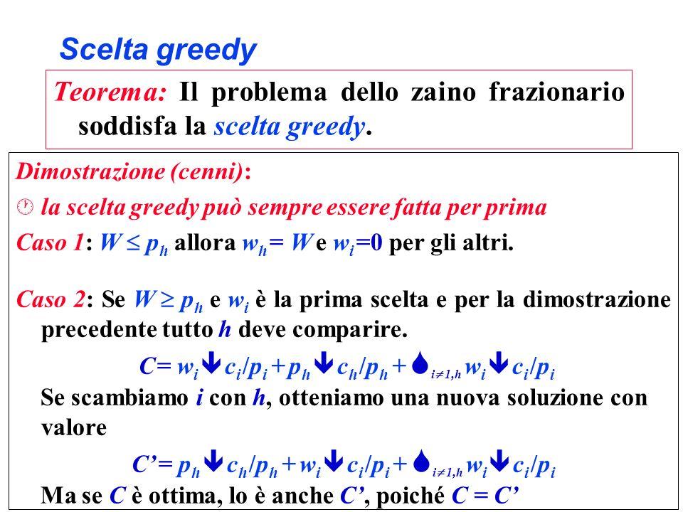 Scelta greedy Teorema: Il problema dello zaino frazionario soddisfa la scelta greedy. Dimostrazione (cenni): · la scelta greedy può sempre essere fatt