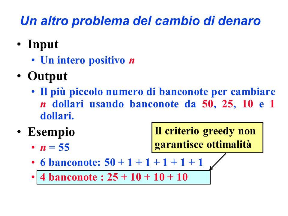 Il criterio greedy non garantisce ottimalità Un altro problema del cambio di denaro Input Un intero positivo n Output Il più piccolo numero di bancono