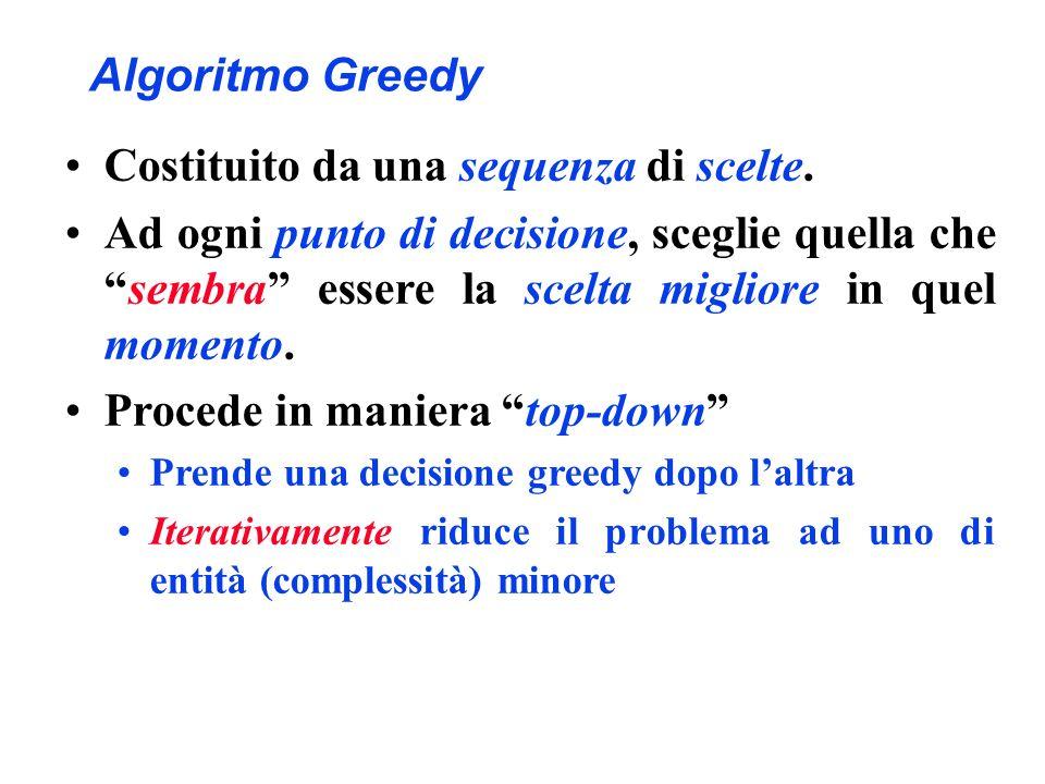 Algoritmo Greedy Costituito da una sequenza di scelte. Ad ogni punto di decisione, sceglie quella chesembra essere la scelta migliore in quel momento.