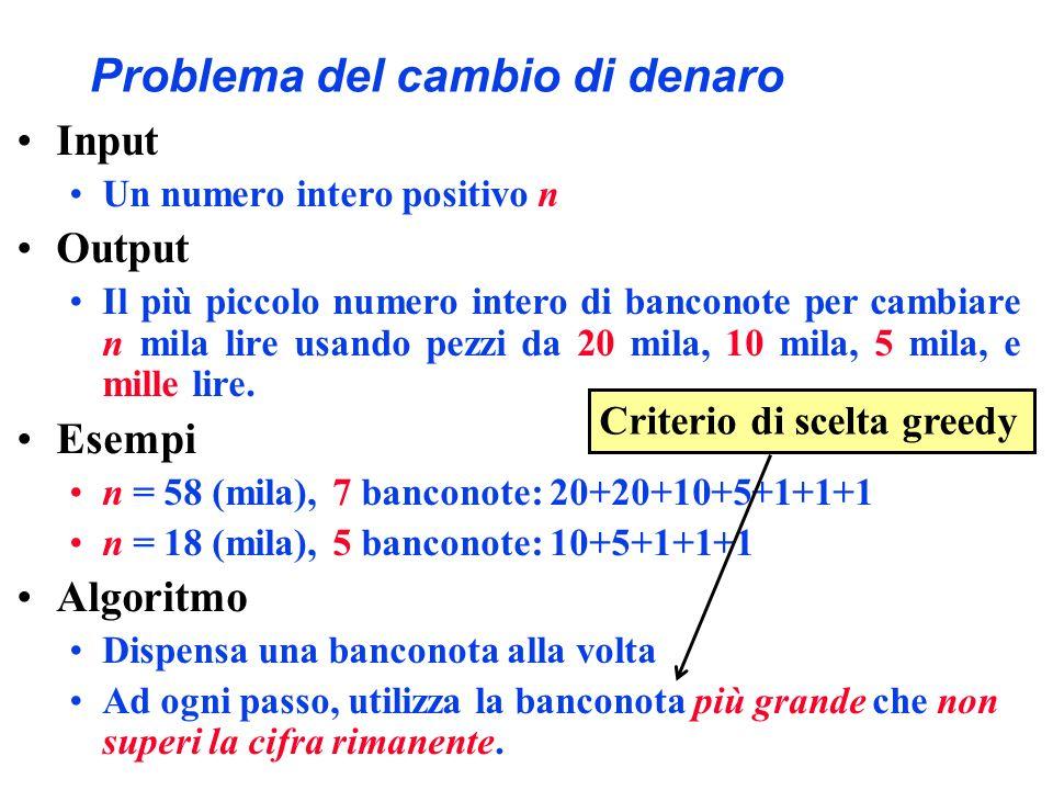 Problema del cambio di denaro Input Un numero intero positivo n Output Il più piccolo numero intero di banconote per cambiare n mila lire usando pezzi