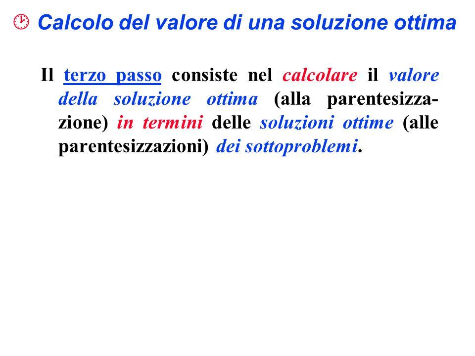 Calcolo del valore di una soluzione ottima Il terzo passo consiste nel calcolare il valore della soluzione ottima (alla parentesizza- zione) in termin