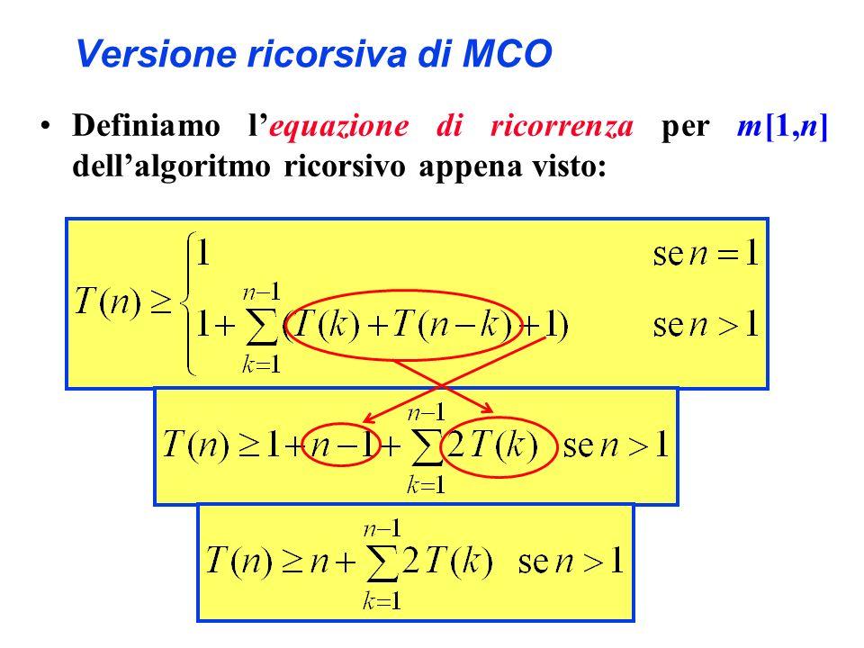 Versione ricorsiva di MCO Definiamo lequazione di ricorrenza per m[1,n] dellalgoritmo ricorsivo appena visto: