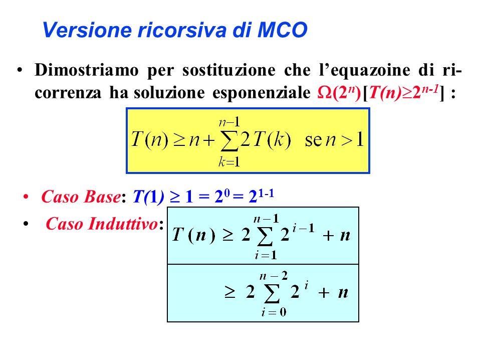 Versione ricorsiva di MCO Dimostriamo per sostituzione che lequazoine di ri- correnza ha soluzione esponenziale (2 n ) [T(n) 2 n-1 ] : Caso Base: T(1)