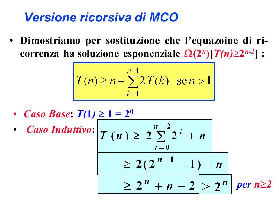 Versione ricorsiva di MCO Caso Base: T(1) 1 = 2 0 Caso Induttivo: per n 2 Dimostriamo per sostituzione che lequazoine di ri- correnza ha soluzione esp