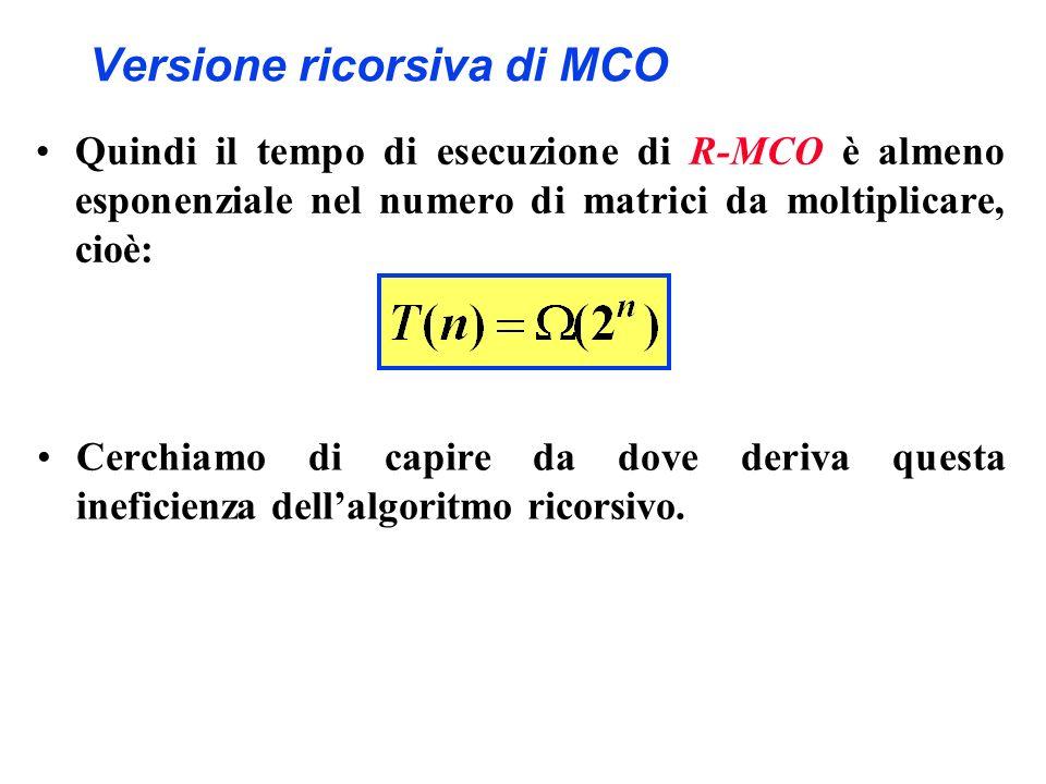 Versione ricorsiva di MCO Quindi il tempo di esecuzione di R-MCO è almeno esponenziale nel numero di matrici da moltiplicare, cioè: Cerchiamo di capir