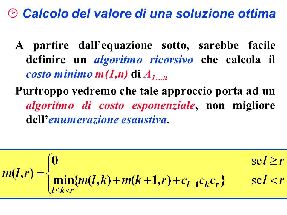 Calcolo del valore di una soluzione ottima A partire dallequazione sotto, sarebbe facile definire un algoritmo ricorsivo che calcola il costo minimo m