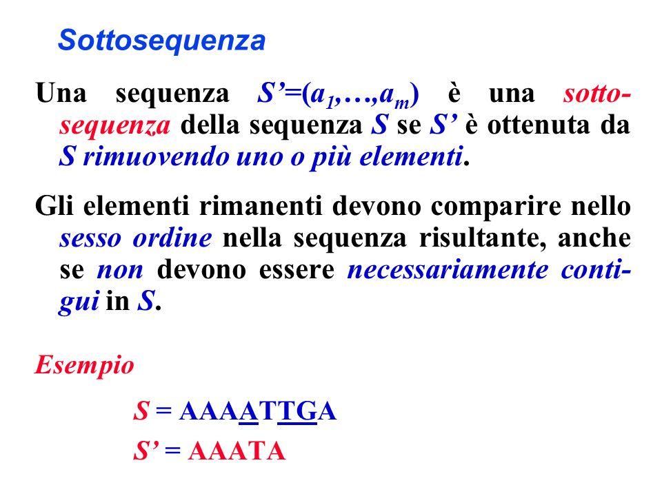 Sottosequenza Una sequenza S=(a 1,…,a m ) è una sotto- sequenza della sequenza S se S è ottenuta da S rimuovendo uno o più elementi. Gli elementi rima