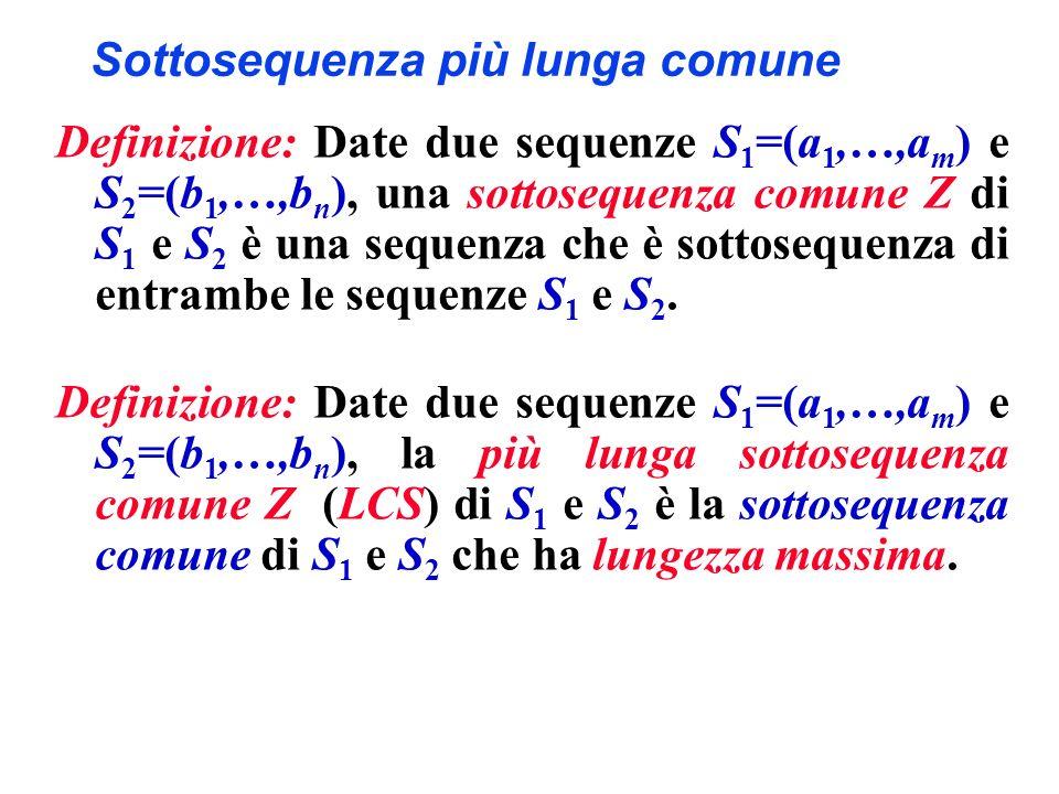 Sottosequenza più lunga comune Definizione: Date due sequenze S 1 =(a 1,…,a m ) e S 2 =(b 1,…,b n ), una sottosequenza comune Z di S 1 e S 2 è una seq
