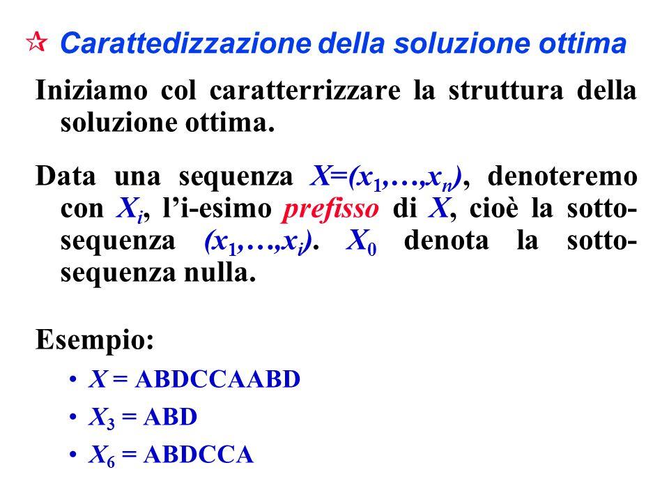Carattedizzazione della soluzione ottima Iniziamo col caratterrizzare la struttura della soluzione ottima. Data una sequenza X=(x 1,…,x n ), denoterem