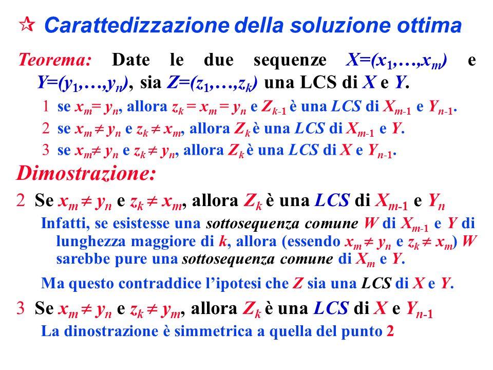 Carattedizzazione della soluzione ottima Teorema: Date le due sequenze X=(x 1,…,x m ) e Y=(y 1,…,y n ), sia Z=(z 1,…,z k ) una LCS di X e Y. 1se x m =