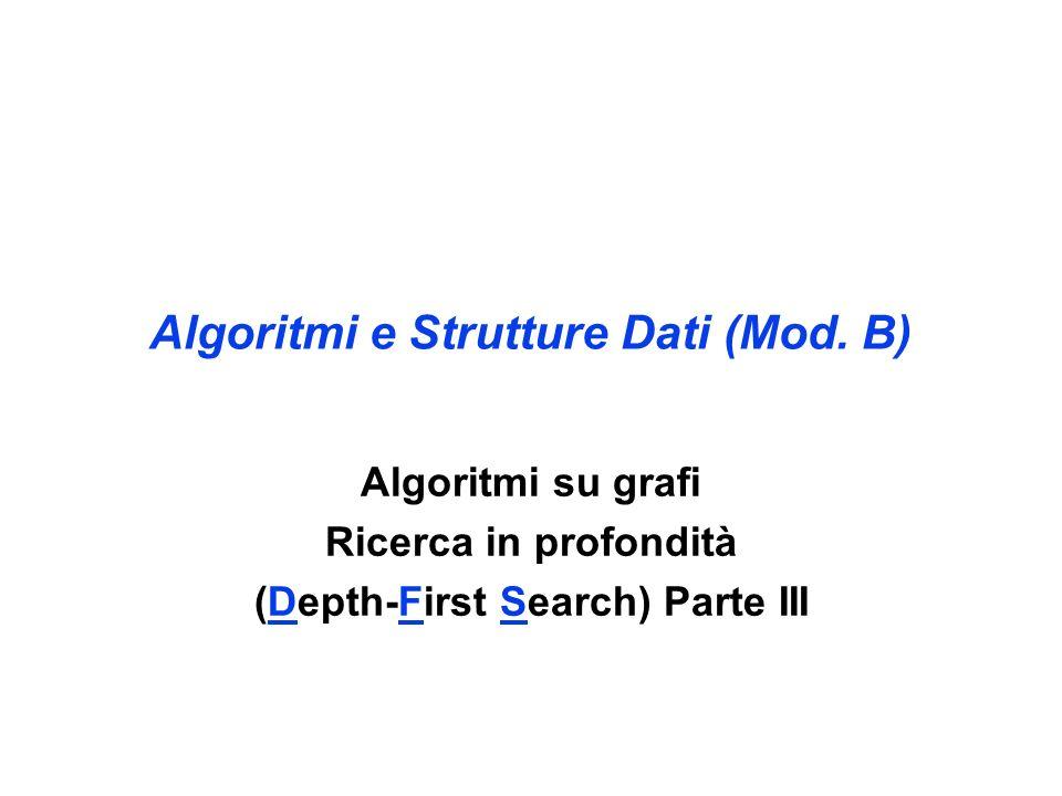 Algoritmi e Strutture Dati (Mod. B) Algoritmi su grafi Ricerca in profondità (Depth-First Search) Parte III