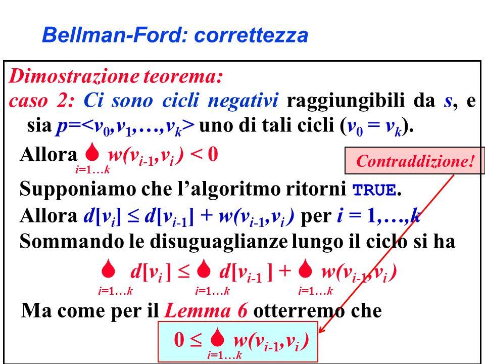 Contraddizione! Bellman-Ford: correttezza Dimostrazione teorema: caso 2: Ci sono cicli negativi raggiungibili da s, e sia p= uno di tali cicli (v 0 =