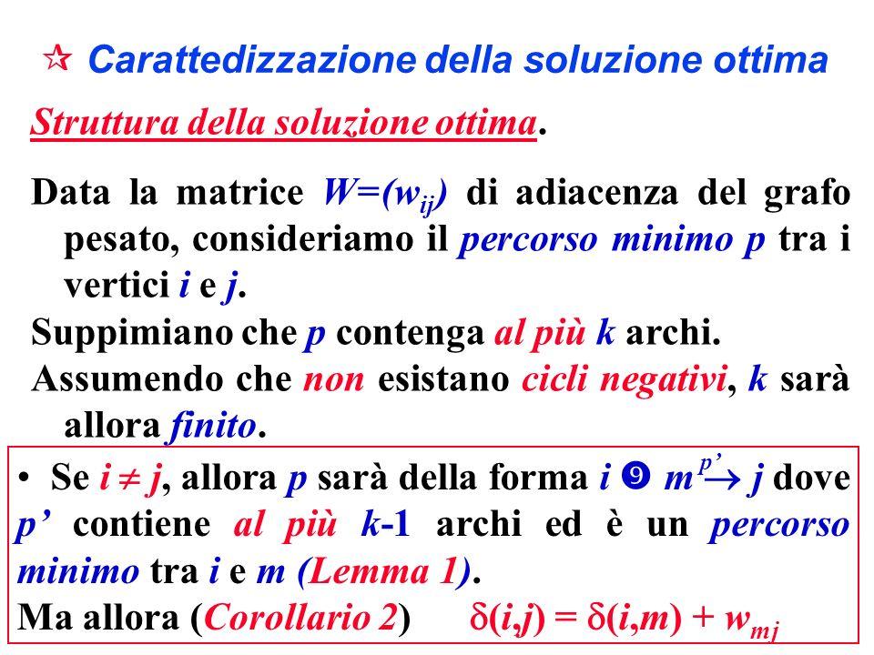 Carattedizzazione della soluzione ottima Struttura della soluzione ottima. Data la matrice W = (w ij ) di adiacenza del grafo pesato, consideriamo il