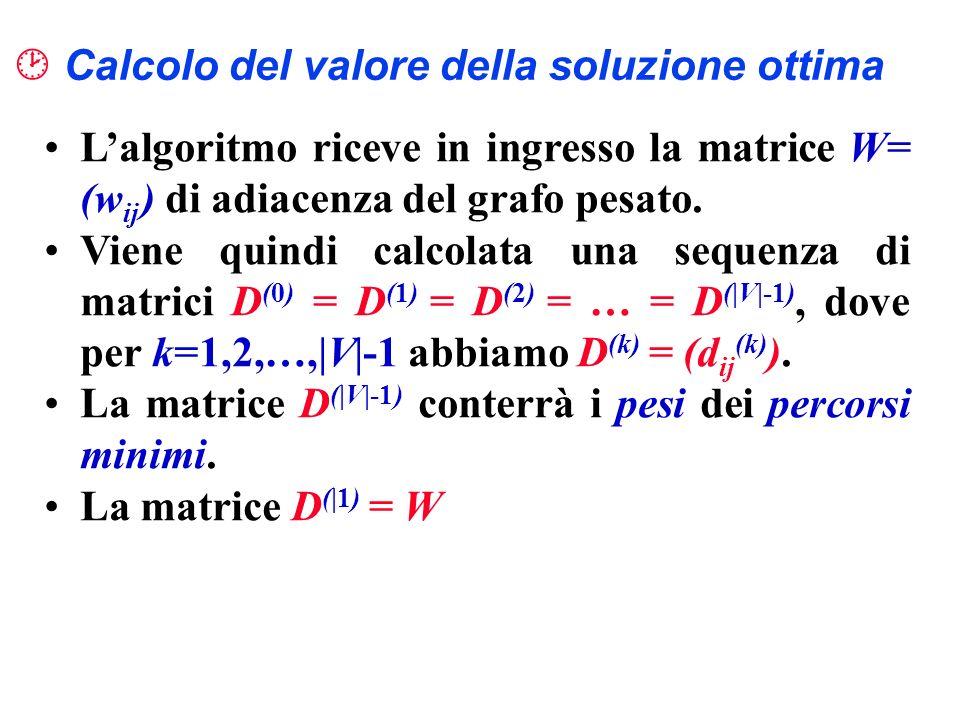 Calcolo del valore della soluzione ottima Lalgoritmo riceve in ingresso la matrice W = (w ij ) di adiacenza del grafo pesato. Viene quindi calcolata u
