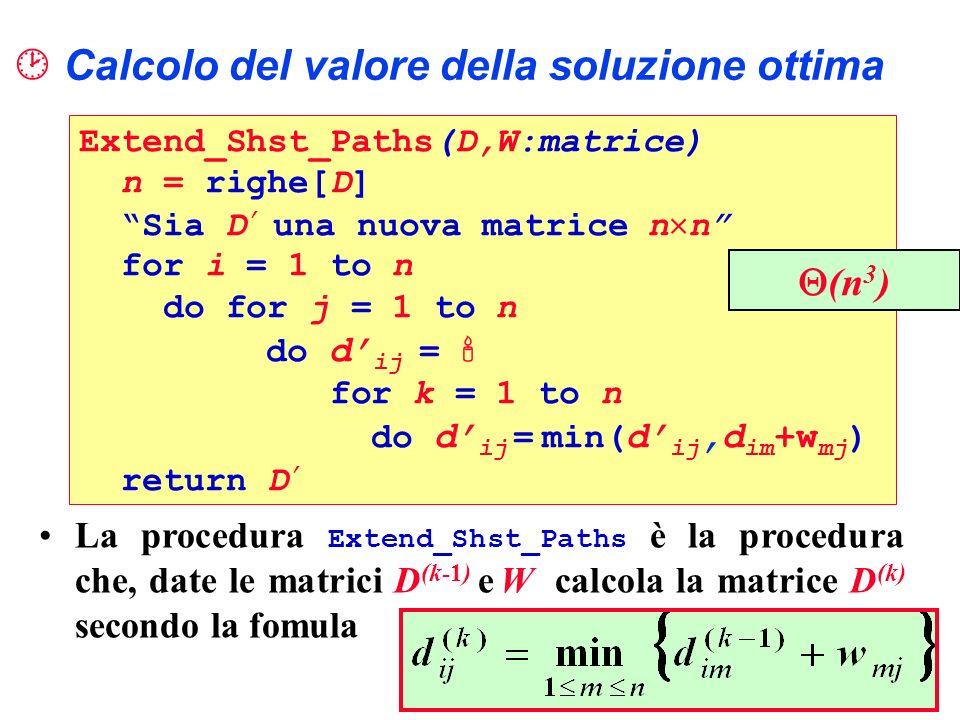 Calcolo del valore della soluzione ottima Extend_Shst_Paths(D,W:matrice) n = righe[D] Sia D una nuova matrice n n for i = 1 to n do for j = 1 to n do