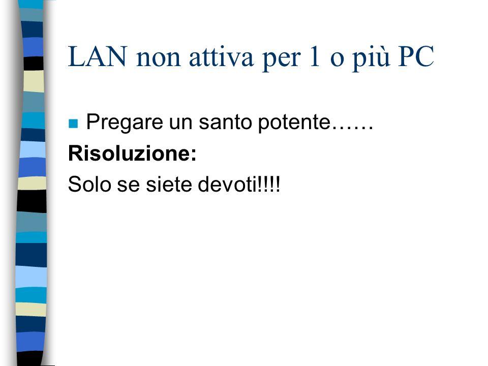 LAN non attiva per 1 o più PC n Pregare un santo potente…… Risoluzione: Solo se siete devoti!!!!