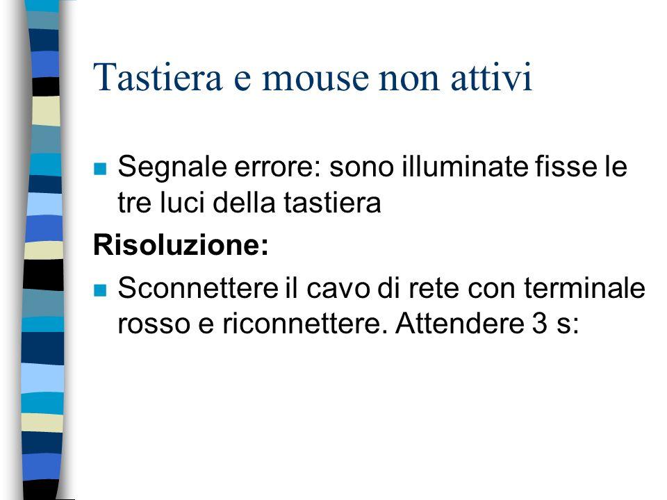 Tastiera e mouse non attivi n Segnale errore: sono illuminate fisse le tre luci della tastiera Risoluzione: n Sconnettere il cavo di rete con terminal