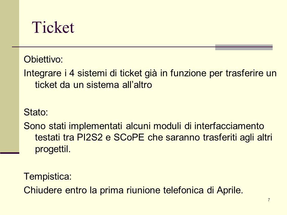 7 Obiettivo: Integrare i 4 sistemi di ticket già in funzione per trasferire un ticket da un sistema allaltro Stato: Sono stati implementati alcuni moduli di interfacciamento testati tra PI2S2 e SCoPE che saranno trasferiti agli altri progettil.