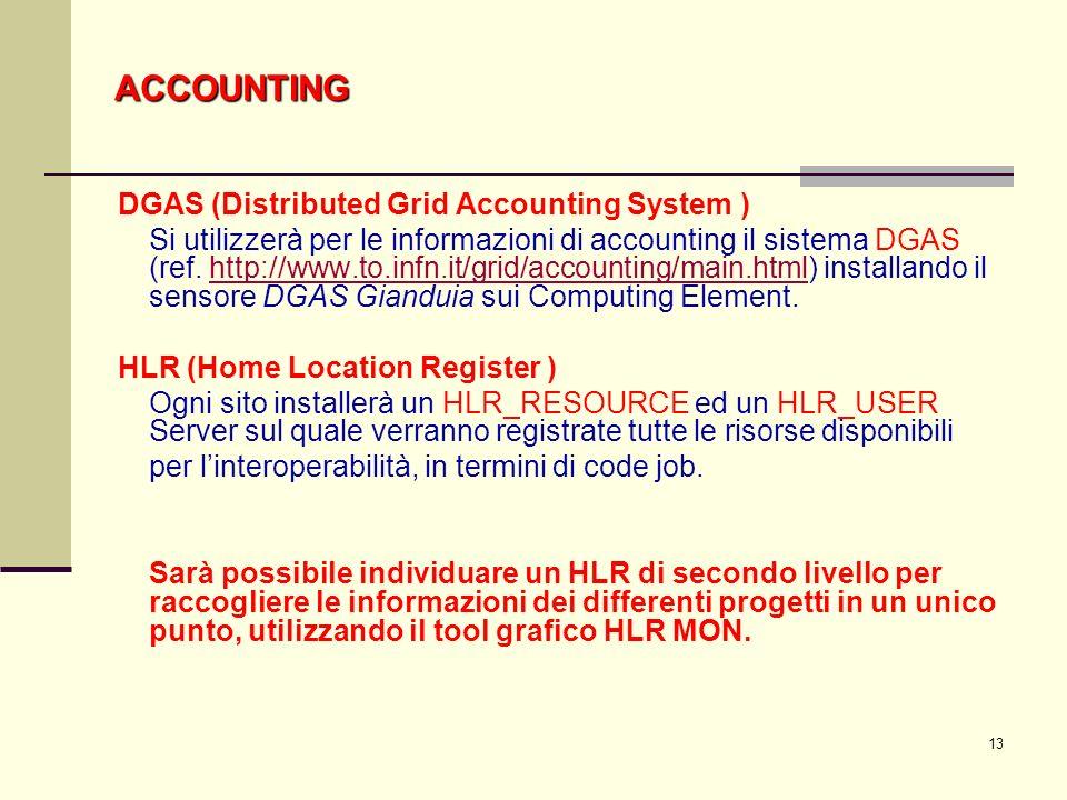 13 DGAS (Distributed Grid Accounting System ) Si utilizzerà per le informazioni di accounting il sistema DGAS (ref.