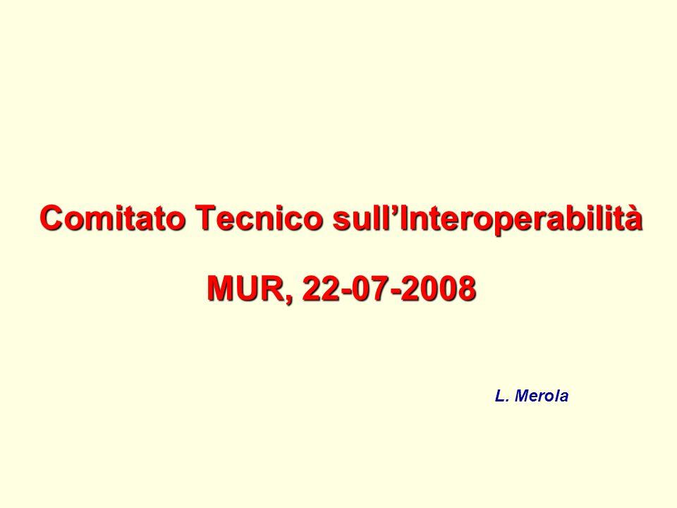 Comitato Tecnico sullInteroperabilità MUR, 22-07-2008 L. Merola