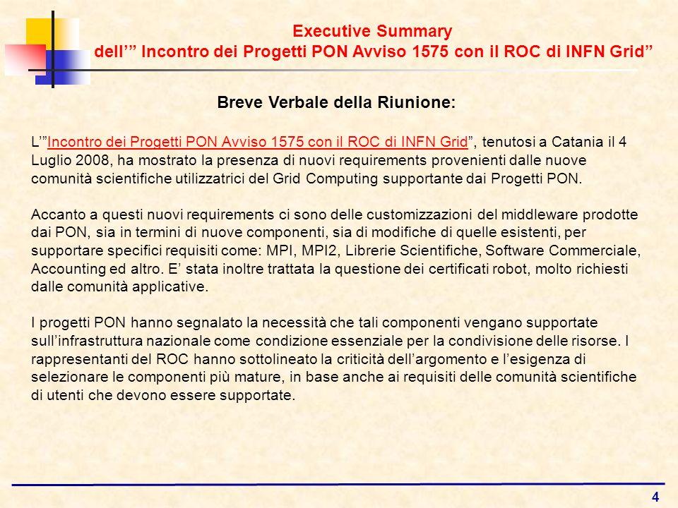 4 Breve Verbale della Riunione: LIncontro dei Progetti PON Avviso 1575 con il ROC di INFN Grid, tenutosi a Catania il 4 Luglio 2008, ha mostrato la pr