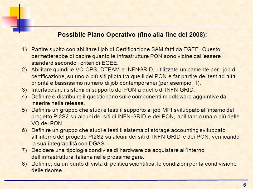 6 Possibile Piano Operativo (fino alla fine del 2008): 1)Partire subito con abilitare i job di Certificazione SAM fatti da EGEE. Questo permetterebbe