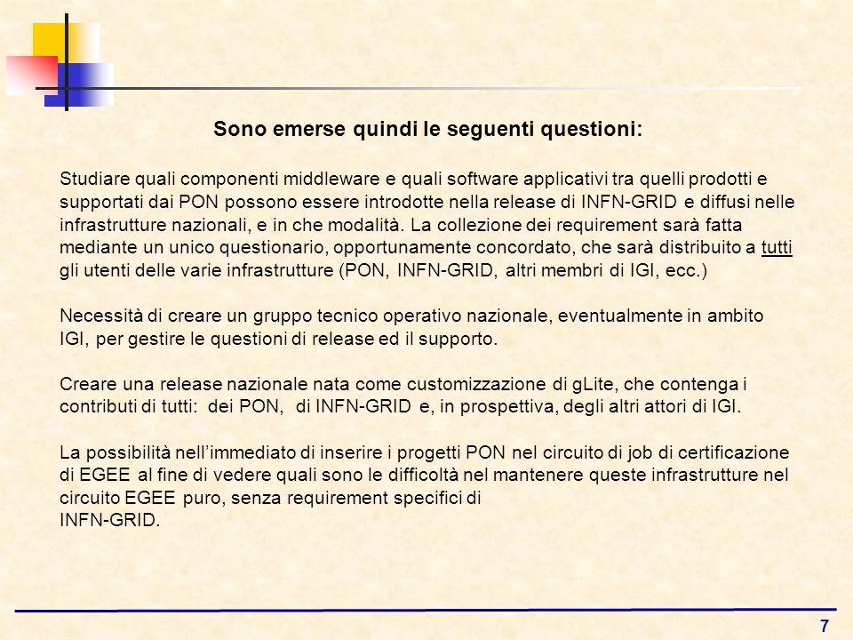 7 Sono emerse quindi le seguenti questioni: Studiare quali componenti middleware e quali software applicativi tra quelli prodotti e supportati dai PON