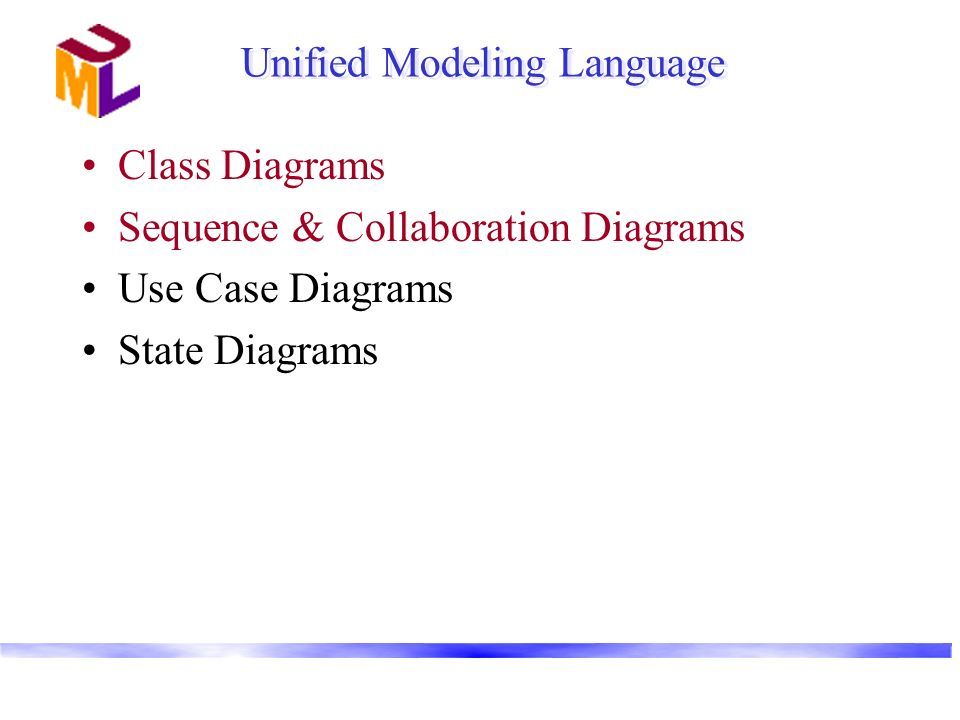 Unified Modeling Language Class Diagrams Sequence & Collaboration Diagrams Use Case Diagrams State Diagrams