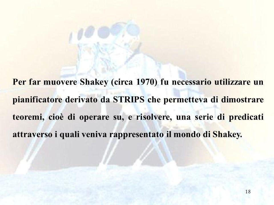 18 Per far muovere Shakey (circa 1970) fu necessario utilizzare un pianificatore derivato da STRIPS che permetteva di dimostrare teoremi, cioè di operare su, e risolvere, una serie di predicati attraverso i quali veniva rappresentato il mondo di Shakey.
