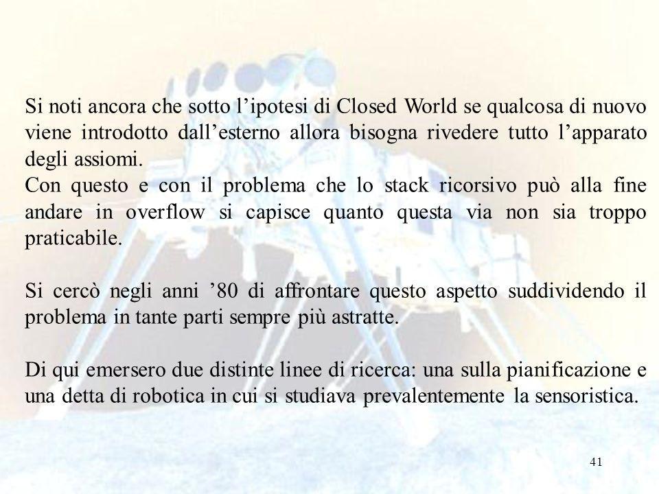 41 Si noti ancora che sotto lipotesi di Closed World se qualcosa di nuovo viene introdotto dallesterno allora bisogna rivedere tutto lapparato degli assiomi.