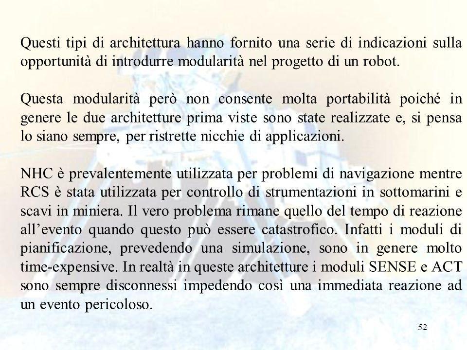 52 Questi tipi di architettura hanno fornito una serie di indicazioni sulla opportunità di introdurre modularità nel progetto di un robot.