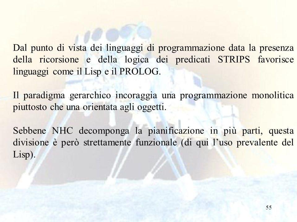 55 Dal punto di vista dei linguaggi di programmazione data la presenza della ricorsione e della logica dei predicati STRIPS favorisce linguaggi come il Lisp e il PROLOG.