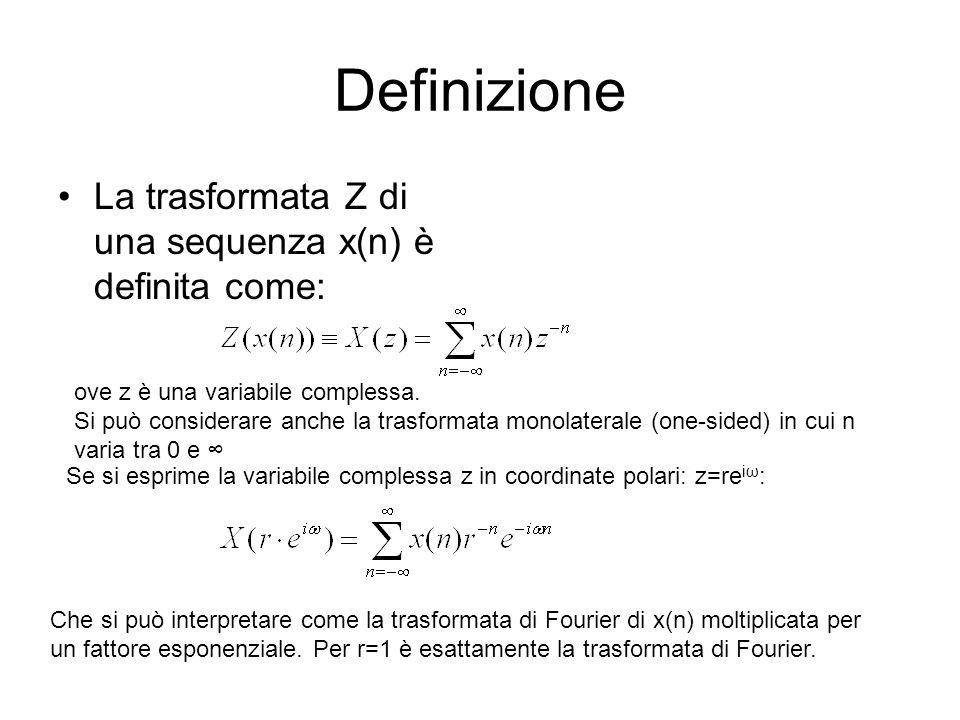 Definizione La trasformata Z di una sequenza x(n) è definita come: ove z è una variabile complessa. Si può considerare anche la trasformata monolatera