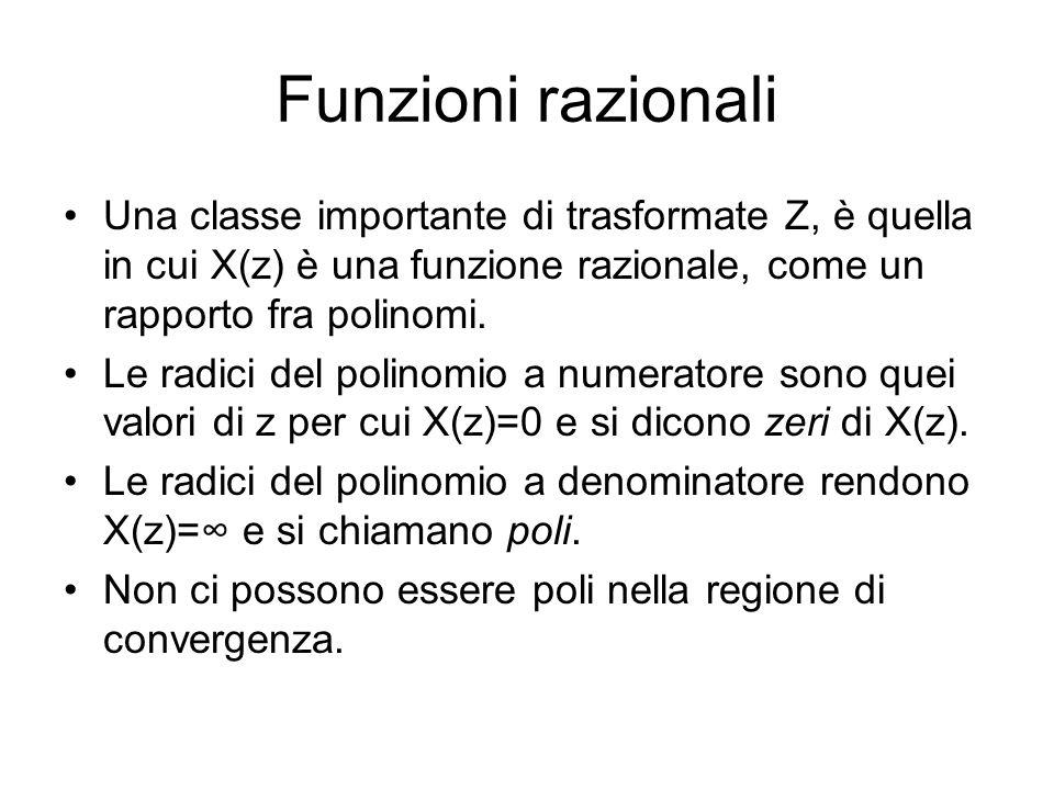 Funzioni razionali Una classe importante di trasformate Z, è quella in cui X(z) è una funzione razionale, come un rapporto fra polinomi. Le radici del