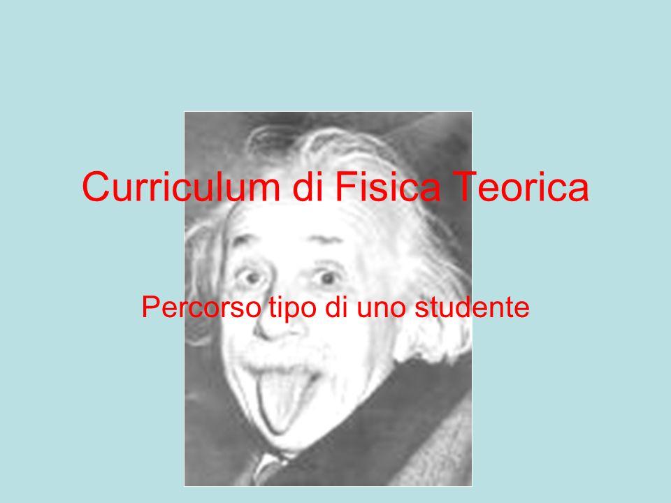 Curriculum di Fisica Teorica Percorso tipo di uno studente