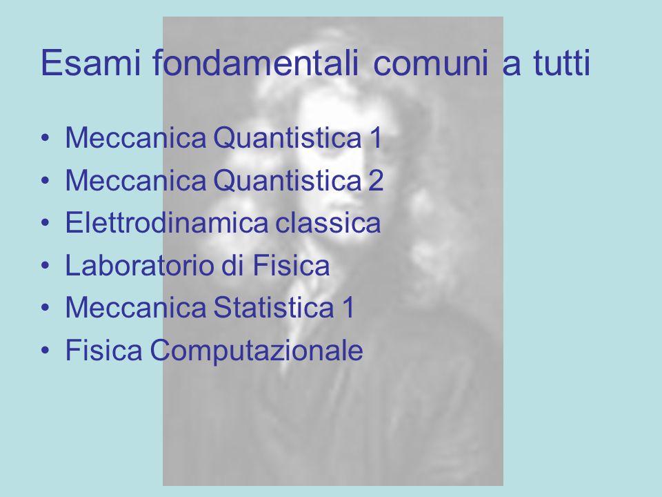 Esami fondamentali comuni a tutti Meccanica Quantistica 1 Meccanica Quantistica 2 Elettrodinamica classica Laboratorio di Fisica Meccanica Statistica