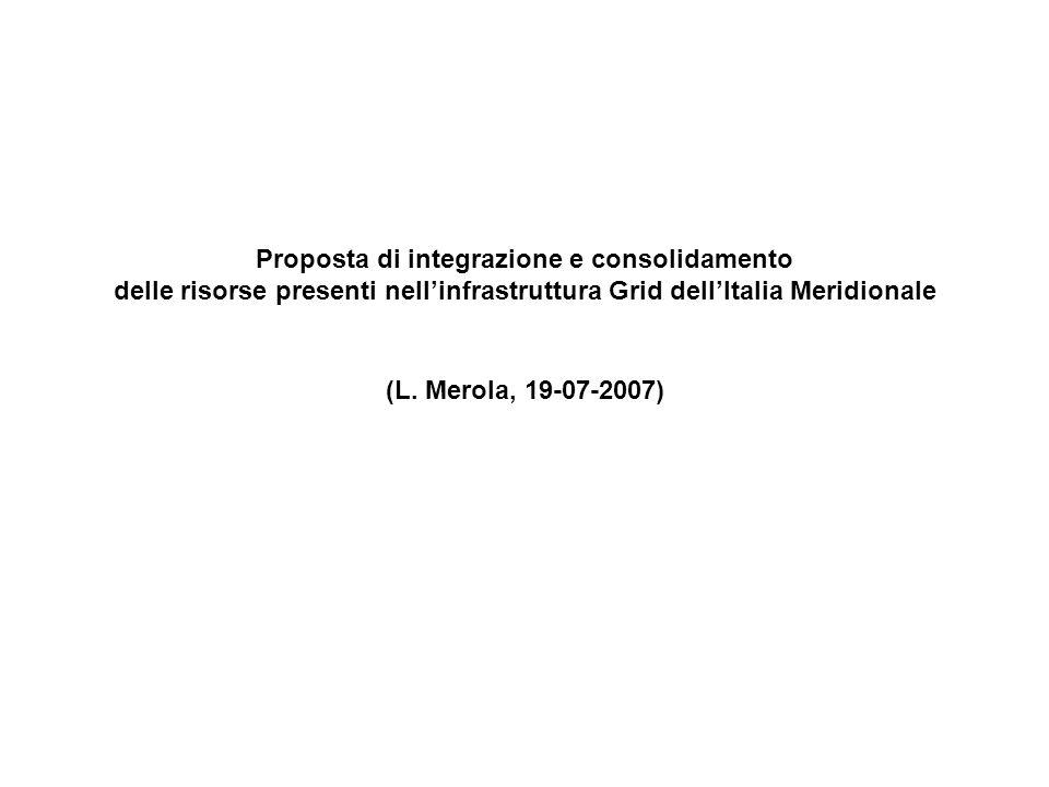 Lintegrazione e il consolidamento delle risorse Grid presenti nei quattro PON è necessaria al fine di creare una comune Infrastruttura di calcolo integrata sia a livello italiano (Grid.it, …) che europeo (EGEE, …) A tal fine la seguente proposta è articolata in più livelli di integrazione che rappresentano delle linee guida a cui ciascuna infrastruttura partecipante deve attenersi: 1) livello middleware 2) livello autenticazione / autorizzazione 3) cataloghi virtuali di file 4) servizio informativo