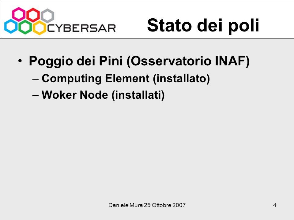 Daniele Mura 25 Ottobre 20074 Poggio dei Pini (Osservatorio INAF) –Computing Element (installato) –Woker Node (installati) Stato dei poli