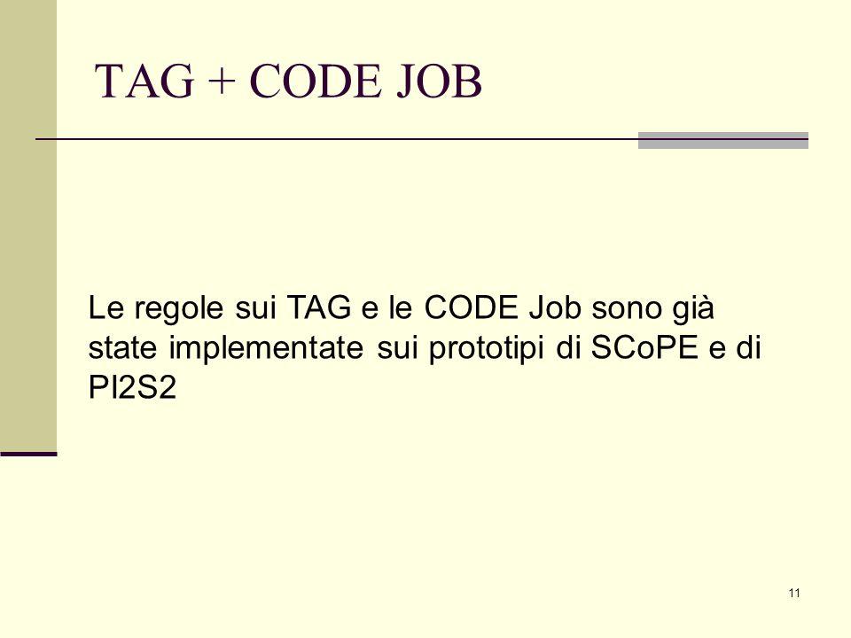 11 TAG + CODE JOB Le regole sui TAG e le CODE Job sono già state implementate sui prototipi di SCoPE e di PI2S2