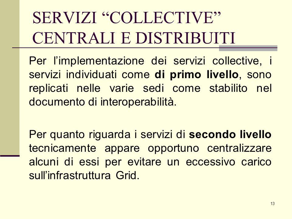 13 Per limplementazione dei servizi collective, i servizi individuati come di primo livello, sono replicati nelle varie sedi come stabilito nel documento di interoperabilità.