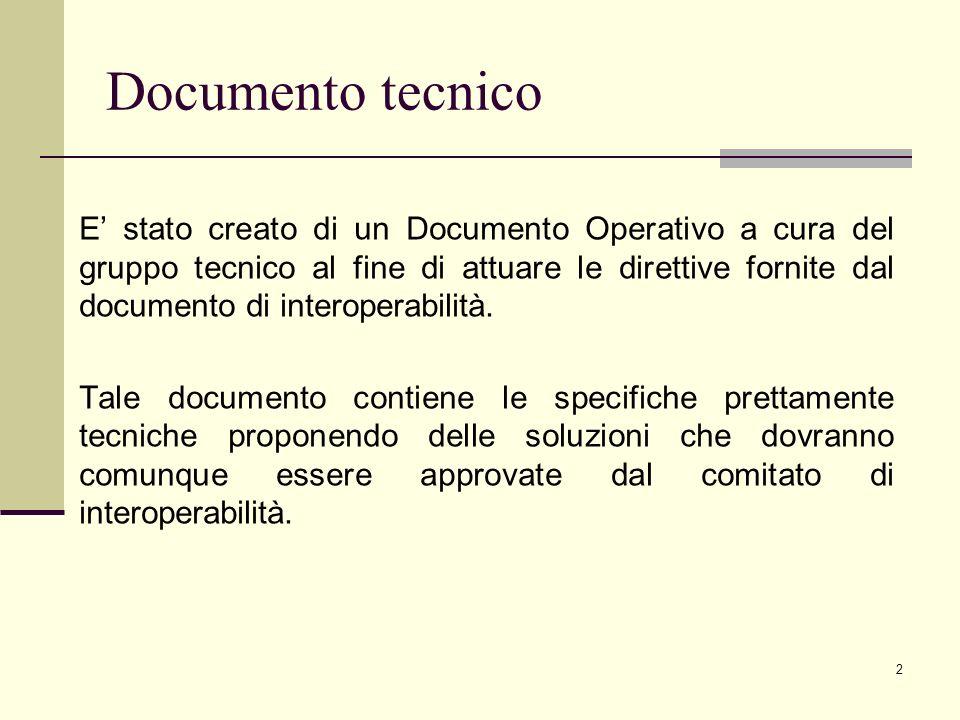 2 Documento tecnico E stato creato di un Documento Operativo a cura del gruppo tecnico al fine di attuare le direttive fornite dal documento di interoperabilità.