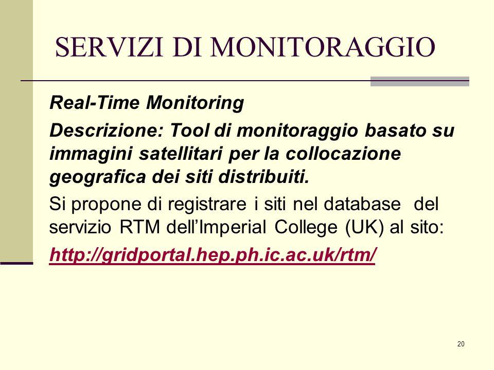 20 SERVIZI DI MONITORAGGIO Real-Time Monitoring Descrizione: Tool di monitoraggio basato su immagini satellitari per la collocazione geografica dei siti distribuiti.
