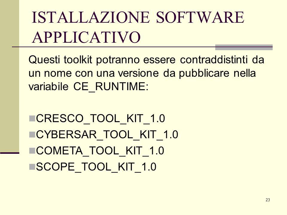 23 ISTALLAZIONE SOFTWARE APPLICATIVO Questi toolkit potranno essere contraddistinti da un nome con una versione da pubblicare nella variabile CE_RUNTIME: CRESCO_TOOL_KIT_1.0 CYBERSAR_TOOL_KIT_1.0 COMETA_TOOL_KIT_1.0 SCOPE_TOOL_KIT_1.0