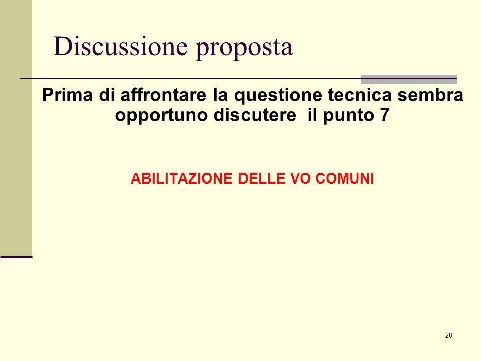 28 Discussione proposta Prima di affrontare la questione tecnica sembra opportuno discutere il punto 7 ABILITAZIONE DELLE VO COMUNI
