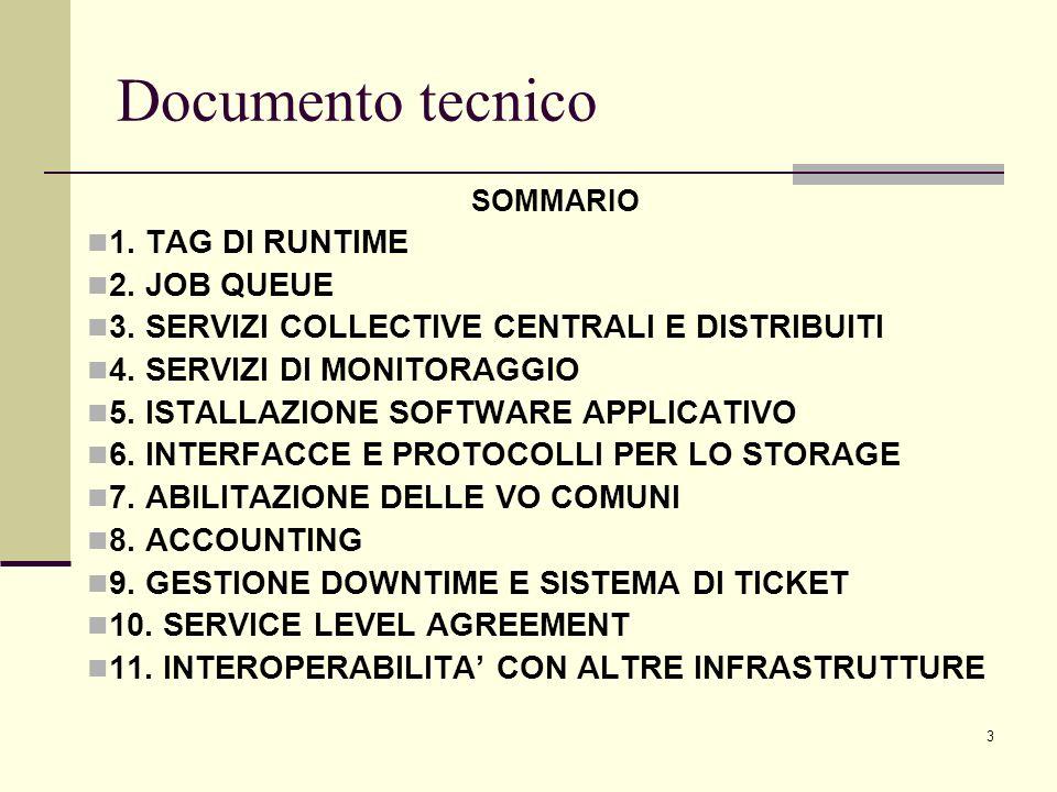 4 Documento tecnico SOMMARIO 1.TAG DI RUNTIME 2. JOB QUEUE 3.