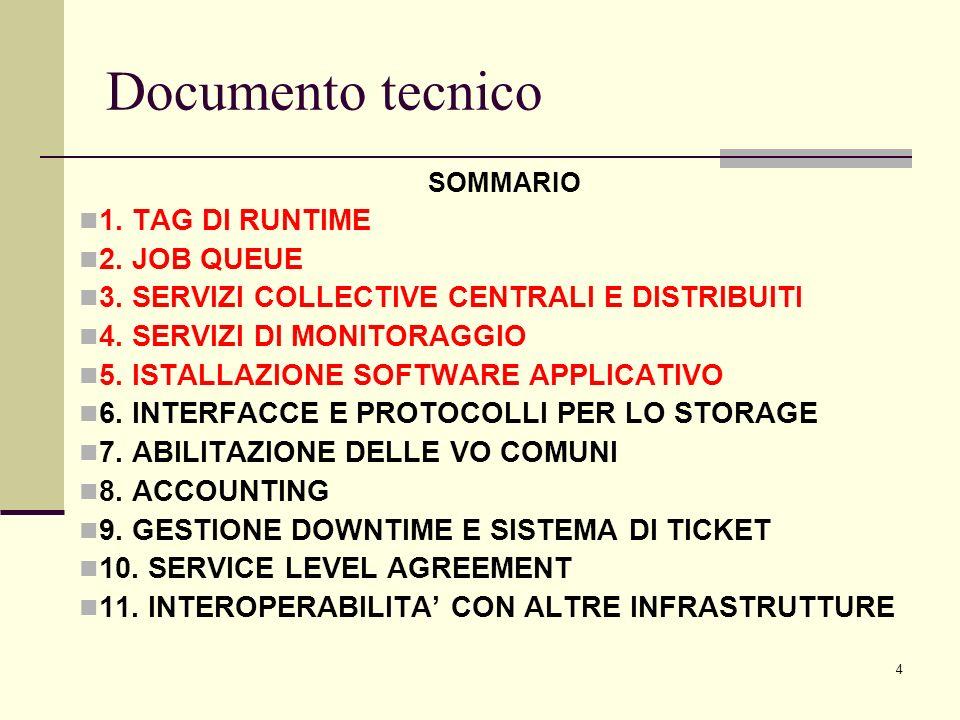 15 SERVIZI DI MONITORAGGIO Poiché i tool di monitoraggio producono traffico sui serivizi Grid si propone di centralizzarli in linea di massima.