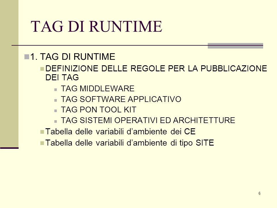 7 TAG DI RUNTIME TAGSPECIFICA MIDDLEWARE LCG-X_Y_ZSupporta versione del middleware LCG-X_Y_Z GLITE-X_Y_ZSupporta versione del middleware GLITE-X_Y_Z ANAGRAFICA CITTA (XXXX)Città dove è situato il sito PROJECT-NAME (XXXX)Nome del progetto SITE-NAME (XXXX)Nome del sito LIBRERIE E SOFTWARE MPICHLibreria MPICH MPICH2Libreria MPICH versione 2 MPI_HOME_SHAREDArchitettura MPI con directory Shared tra i worker node MPI_HOME_NOTSHAREDArchitettura MPI con directory NON Shared tra i worker node IDL-X.YSupporto per IDL versione X.Y ABAQUS-X.YSupporto per ABAQUS versione X.Y PON TOOL KIT CRESCO-TOOL-KIT-x.ySupporto per il tool kit del progetto CRESCO CYBERSAR-TOOL-KIT-x.ySupporto per il tool kit del progetto CYBERSAR PI2S2--TOOL-KIT-x.ySupporto per il tool kit del progetto PI2S2 SCOPE--TOOL-KIT-x.ySupporto per il tool kit del progetto SCOPE